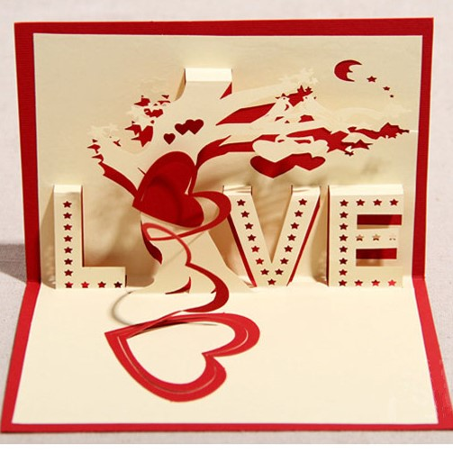 3d love tree greeting card